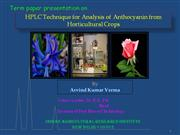 HPLC Technique for Analysis of Anthocyanin from Horticultural Crops