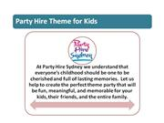 Party Hire Sydney Theme for Kids