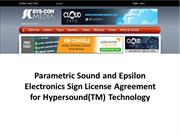 Parametric Sound and Epsilon Electronics Sign License Agreement for Hy