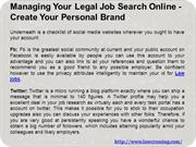 Managing Your Legal Job Search Online - Create Your Personal Brand