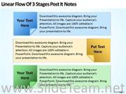 LINEAR FLOW OF 3 STAGES POST IT NOTES SLIDE