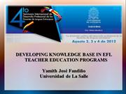 Developing knowledge base in EFL teacher education programs