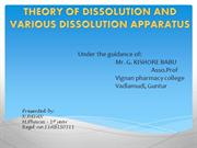 THEORY OF DISSOLUTION AND VARIOUS DISSOLUTION APPARATUS