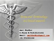 Terms & Terminology clinical research