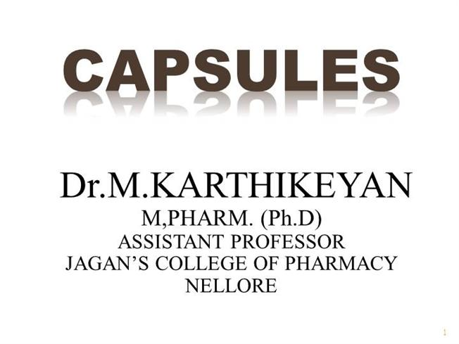 capsule definition in pharmacy