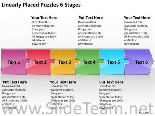 6 stages puzzles in linear flow process powerpoint diagram maxwellsz