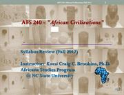 AFS 240 Syllabus Review Fall 2012 (Revised)