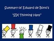 Summary of Edward de Bono's six hats