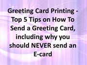 Greeting Card Printing - Top 5 Tips on How To Send a Greeting Card, in