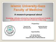 Alternative medicine -Gaza strip - propsal by Osaid H. Alser et. al.