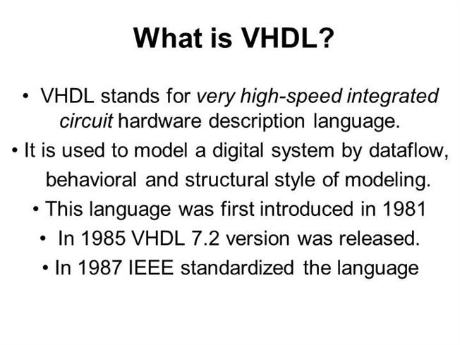 What is VHDL |authorSTREAM