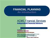 Fiinancial Planning an Introduction