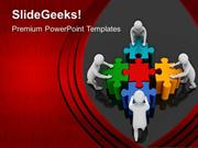 JIGSAW PUZZLES 3D TEAM PUSHING PUZZLE PIECES PPT TEMPLATE