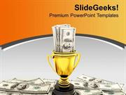 SPORTS GOLDEN CUP WITH DOLLAR BILLS SUCCESS PPT TEMPLATE