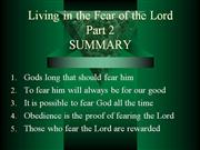 living in the fear of the Lord part 2