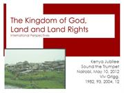 Land, Land Rights and Jubilee