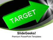 TARGETS GREEN ARROW WITH TARGET AIM GOAL PPT TEMPLATE