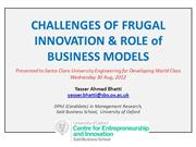 Challenges of Frugal Innovation and Role of Business Models