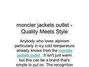 moncler jackets outlet - Quality Meets Style