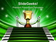 BUSINESS GREEN STAIRWAY TO TROPHY PPT TEMPLATE