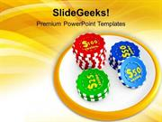 SPORTS CASINO CHIPS ON WHITE BOARD PPT TEMPLATE