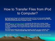 Transfer Files from iPod to Computer, Transfer Files from iPod to PC F