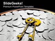 FINANCE GOLDEN KEYS ON COINS SECURITY PPT TEMPLATE