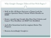 Google's Update Changes Title of Webpages
