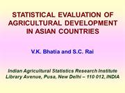 STATISTICAL EVALUATION OF AGRICULTURAL DEVELOPMENT IN ASIAN COUNTRIES