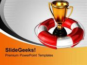 TARGETS GOLDEN TROPHY WITH LIFEGUARD SAVINGS PPT TEMPLATE