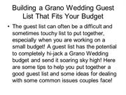 Building a Wedding Guest List That Fits Your Budget at www.GranoBridal