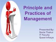 Principle and Practices of Management