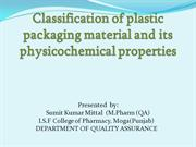 Classification of Plastic Packaging Material and its Physicochemical