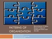 Patterns of Organization Listing & Classification