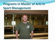 Programs in Master of Arts in Sport Management