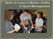 Skills to Learn in Master of Arts in Sport Management