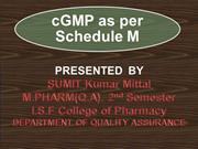 cGMP as per schedule M