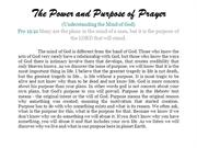 The Power and Purpose of Prayer
