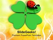 CHRISTIAN CLOVER AND LADY BUG LUCKY SYMBOLS PPT TEMPLATE