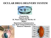 Hejal Parekh's presentation on ocular drug delivery system