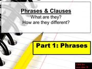 Phrases: Prepositional, Participial, Infinitive