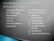 Vocabulary Voters and Voter Behavior  Chapter 6