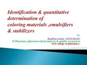 identification & quantitative analysis of colouring materials,