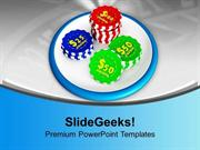 SPORTS CASINO CHIPS ON WHITE BACKGROUND PPT TEMPLATE