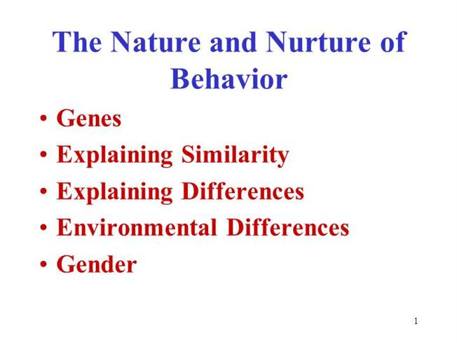 Nature and Nurture Debate