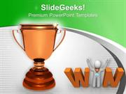 TARGETS GOLDEN TROPHY WITH WINNER SUCCESS PPT TEMPLATE