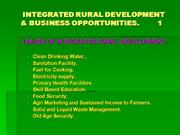 INTEGRATED RURAL DEVELOPMENT and BUSINESS OPPORTUNITIES.