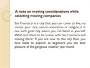 A note on moving considerations while selecting moving