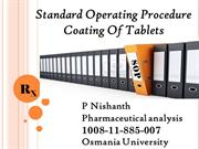 STANDARD OPERTING PROCEDURE FOR COATING  TABLETS