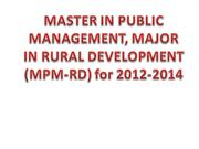 MASTER IN PUBLIC MANAGEMENT, MAJOR IN RURAL ppt.